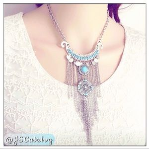 BOHO Silver Tassel with Turquoise Long Necklace